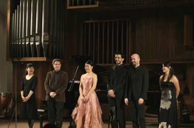 コンサートの演奏者たち 左から発案者の矢澤恵子、L.ミッサリア、A.タニモト、D.ジョヴァノヴィック、P ,コスタンツォ、M.ワタナベ