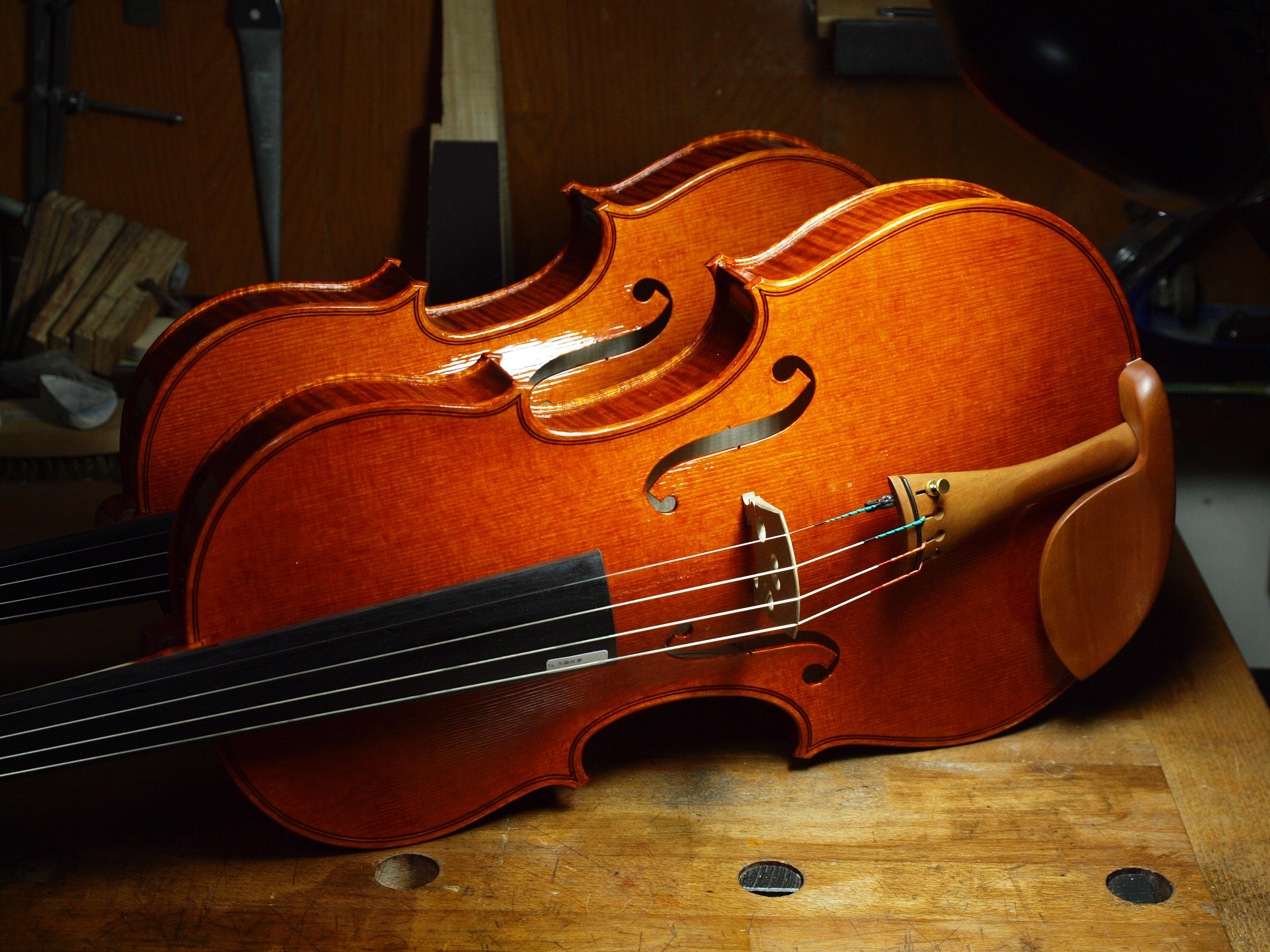 写真4「弦を張って初めて木の箱は楽器に変わる」